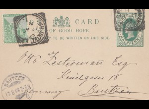 South Africa 1898: post card cape town to Bautzen/Germany