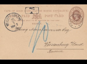 South Africa 1893: post card Port Elizabeth to Weissenburg, Tax