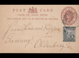 South Africa 1893: post card to Oldenburg