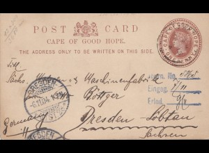 South Africa 1904: post card Mthata to Dresden