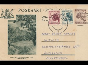 South Africa 1955: post card Drakensberg to Wien
