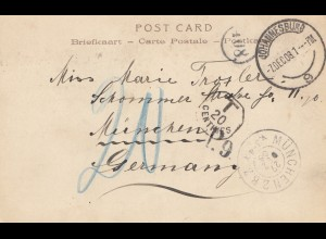 South Africa 1903: Johennesburg post card to München, Tax