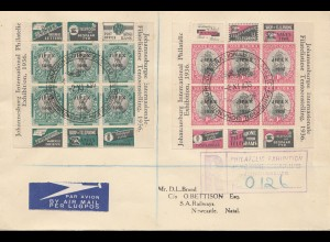 1935 air mail registered philatelic exhibition Johannesburg to Natal/Newcastle