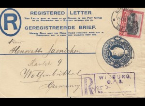 South Africa 1928: registered Winburg to Wolfenbüttel