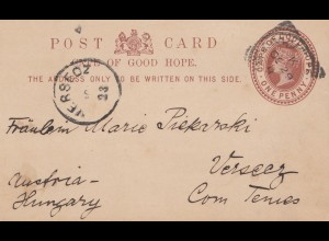 South Africa 1896: post card cape of good hope to Versecz/Hungary