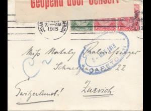 South Africa 1915: Johannesburg via Capetown to Zürich/Switzerland, censor