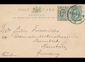 South Africa 1909: Johannesburg post card to Hamburg