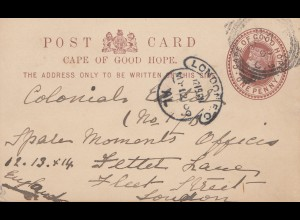 South Africa 1909: post card Cape Colony to London
