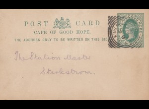 South Africa 1899: post card King Williams Town to Sterkstrom