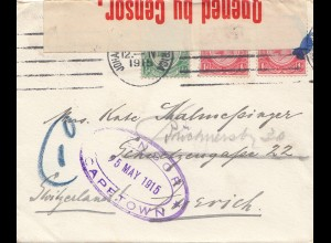 South Africa 1915: Johannesburg via Capetown, censor, to Zürich/Switzerland