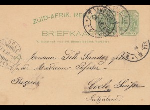 South Africa post card 1899 Pretoria to Loele/Switzerland
