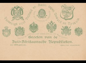 South Africa post card unused Zuid-Afrikaansche Republieken, printed 1000