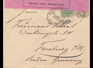 South Africa 1902 Johannesburg to Freiburg, opened under Martial law
