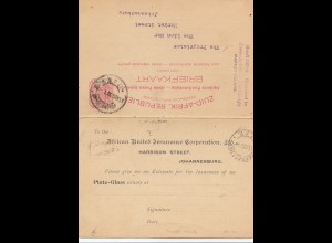 South Africa 1898 Johannesburg post card Insurance Corporation, response card