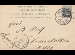 South Africa 1901: Cape Colony to Niederstetten, post card
