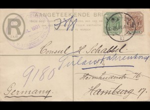 South Africa 1901: registered letter with censor to Hamburg, forwarded Tülau