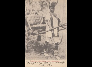 South Africa 1908: post card Johannesburg to München, Taxe, Ricksha Puller