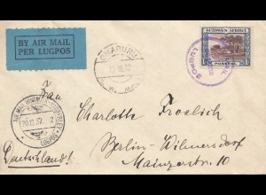 South Africa 1932: air mail Omaruru, Windhoek to Berlin