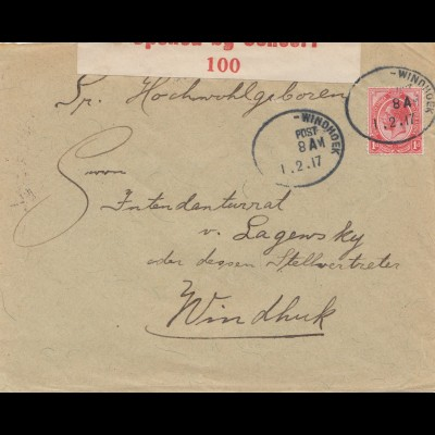South Africa 1917: Windhoek local post, censor