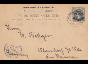 South Africa 1903: post card cape town to Oberndorf/Hannover