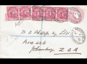 South Africa 1898: registered East London to Johannesburg