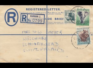 South Africa 1955: registered letter Durban to Wöschnau/Switzerland, customs