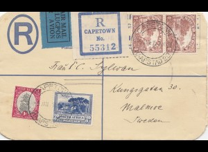 South Africa 1935: registered Cape Town to Malmoe/Sweden