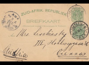 South Africa 1898: Pretoria post card to Wien
