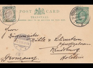 South Africa 1904: Johannesburg post card to Rendsburg