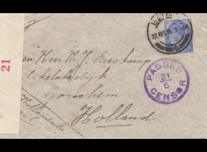 South Africa 1916 Bethal to Gorinchem/Holland, censor