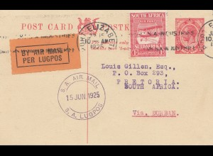 South Africa 1925: air mail Port Elizabeth to Pretoria