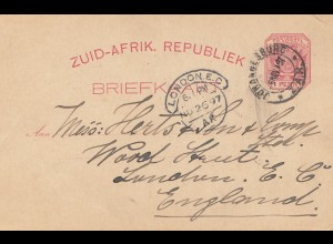 South Africa: 1897: post card Johannesburg to London