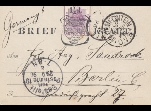 South Africa: 1896: post card to Berlin