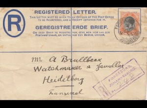 South Africa: 1916: registered letter Johannesburg to Hedelberg