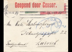 South Africa: 1915: Johannesburg to Zürich, Censor opened