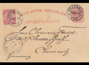South Africa: 1894: post card Pretoria to Chemnitz