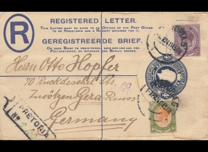 South Africa 1924: registered letter Pretoria to Gera