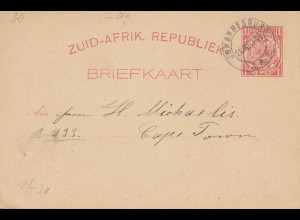 South Africa 1894: post card Johannesburg to Cape Town