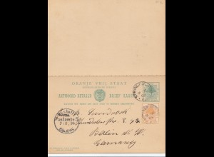 South Africa 1899: post card with response card Springfontein to Berlin