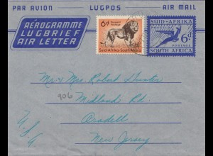 South Africa Transvaal aerogramme/air mail to New Jersey