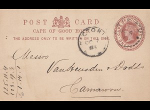 South Africa 1885: post card Victoria to Cameroon