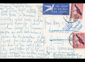 South Africa 1961: post card air mail Freiburg - Baden-Baden