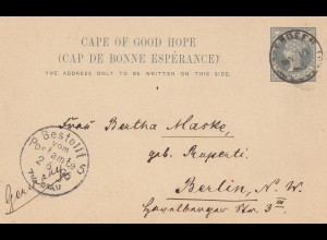 South Africa 1896: post card Aberdeen to Berlin