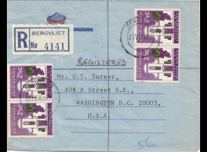 South Africa 1970: registered Bergvliet to Washingthon
