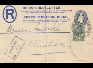 South Africa 1922: registered Usakos to Windhoek