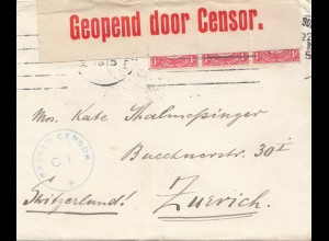 South Africa 1915: Johannesburg to Zürich, opened by censor