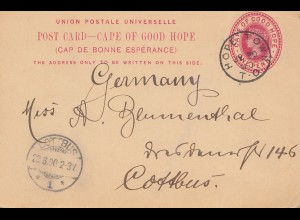 South Africa 1900: post card Hope Town Port Elizabeth to Cottbus