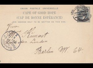 South Africa 1903: Simons Town, post card to Berlin