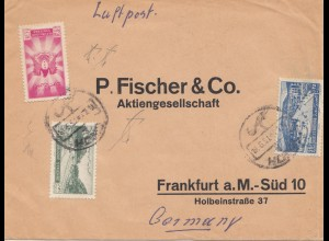 Syria 1951: Homs to Frankfurt, air mail