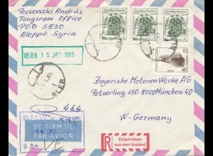 Syria 1985: air mail registered Aleppo to BMW München, Einschreiben a.d. Ausland